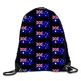 uykjuykj Bolsos De Gimnasio,Mochilas,Family Tree Sackpack Drawstring Backpack Waterproof Gymsack Daypack For Men Women Australia flag3 Lightweight Unique 17x14 IN