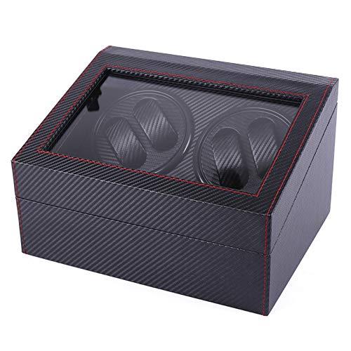 Kacsoo - Caja expositora para relojes automáticos (madera) para 4 relojes de pulsera, 6 maletines de almacenamiento, motor japonés, caja de almacenamiento giratoria, caja expositora