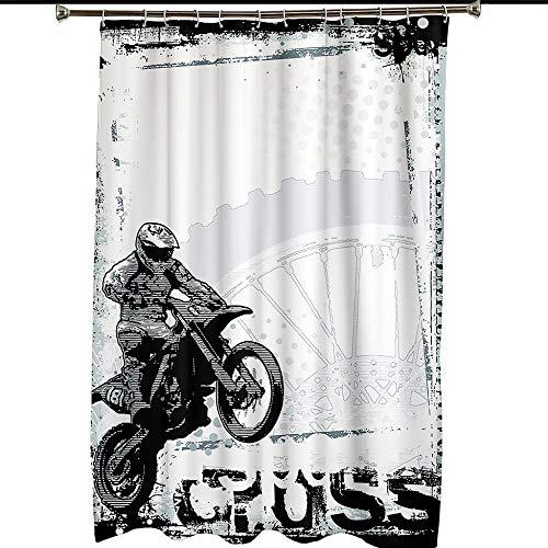 Duschvorhang Graubraunes Motorrad , Duschvorhang Grün Wasserdicht Anti Schimmel Duschvorhang mit Haken 59