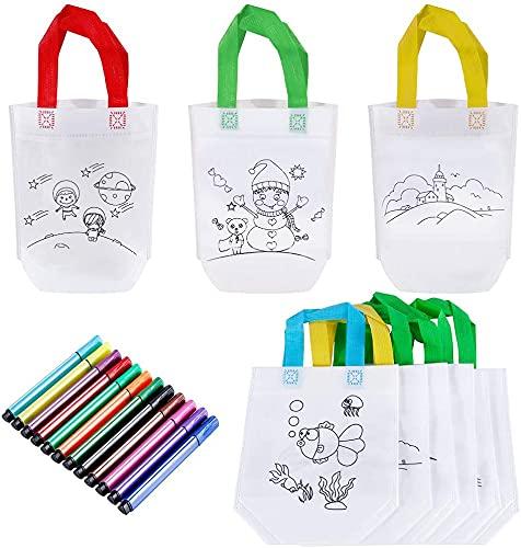 GOLDGE DIY Graffiti Bolsas para Colorear, 10 Pcs Graffiti Bags Ideal para 12 Ceras de Colores y Globo, Regalo niños Fiestas y cumpleaños