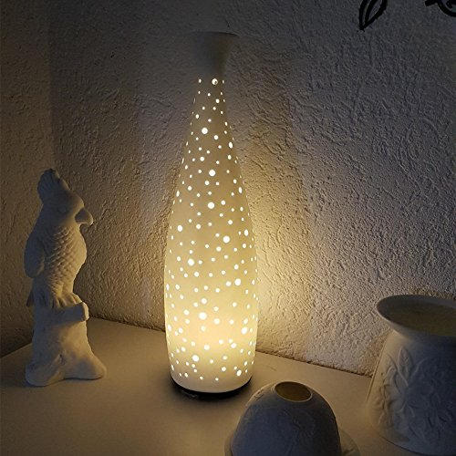 Ceramic Essential Oil Diffuser, JolyJoy Decorative Aromatherapy Humidifier w/Hand-Crafed White Porcelain Vase Cover & Pretty LED Light, Premium Birthday Gift for Women/Men