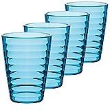 Melamin Geschirr Set 20 Teile Elegante Steingut Optik in blau mit Wasserglas Tassen - für 4 Personen - Essgeschirr Gläser Wasserglas Tumbler Whiskey - Campinggeschirr Picknick Camping modern Outdoor - 3