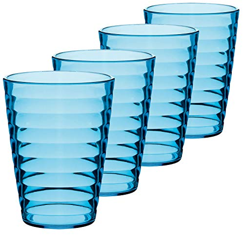 Gläser 4 Personen Camping Küche glasklar Kunststoff Trinkglas 0,35l Trinkbecher Saftglas Wasser Glas Becher Campinggeschirr Picknick Geschirr Elegantes Design Kinderglas bruchfest 4 Stück 350ml Blau