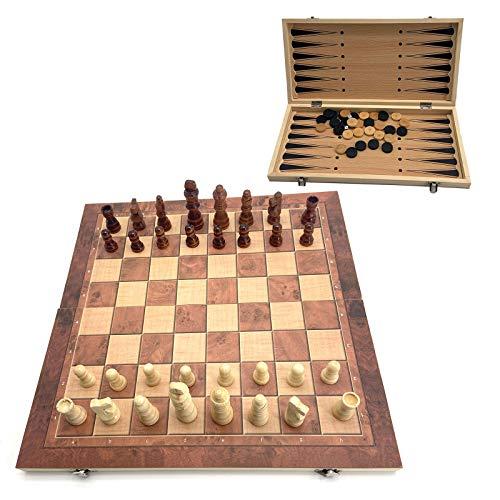 WYYUE Schachcomputer, Schachspiel Schachbret 3 in 1 Schach, Holz klappbar Chess Set, Reiseschach für Kinder und Erwachsene,39 * 39 cm