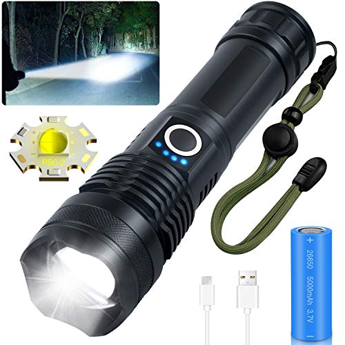 Rechargeable LED Flashlights, Grentay 10000 Lumens Flashlight High Lumens, Super Bright Flashlights Powered by 26650 Batteries, 5 Modes, Zoomable, IP55 Waterproof, Tactical Flashlights for Camping