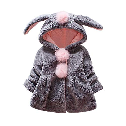 Heternal Baby Hooded Coat Baby Boys Girls Rabbit Jackets Warm Autumn Winter Waistcoat Clothes Toddler Windbreaker Ourwear Age 1 8 Years Gray 1 18 24 Months