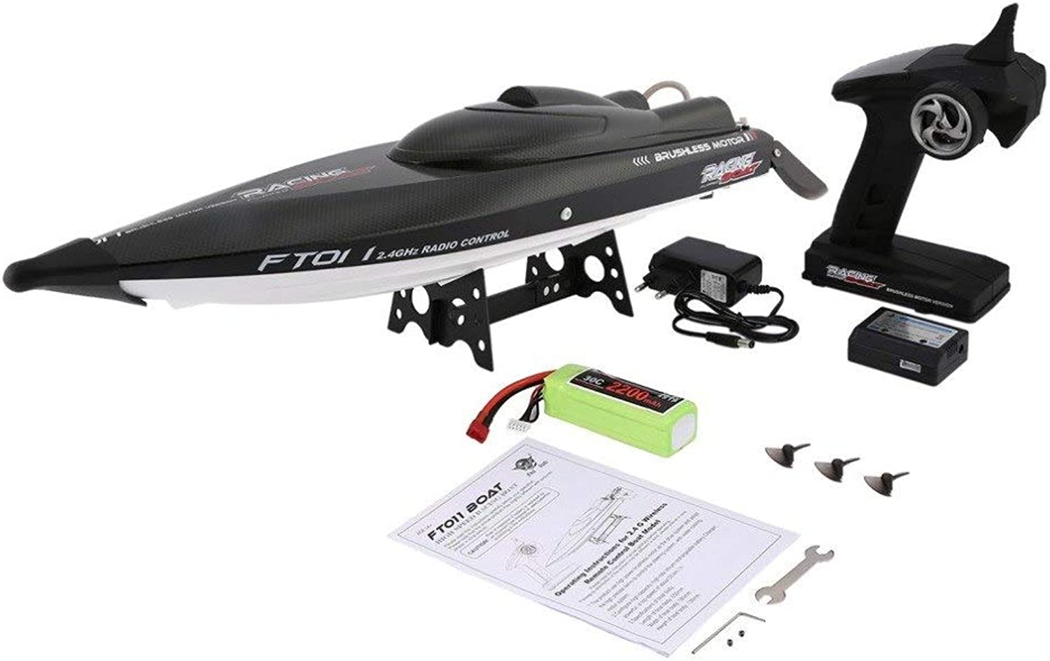 Generic Feilun FT011 65cm 2.4G 2CH RC 55km h High Speed Racing Boat Ship Speedboat with Water Cooling System Flipped Brushless Motor