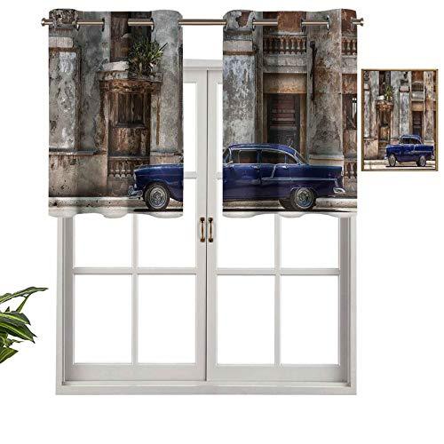 Hiiiman Cortinas opacas con ojales, cortinas cortas, cenefa de coche viejo Havana Cuba Urban, juego de 1, 137 x 45 cm, cortinas de cocina para sala de estar