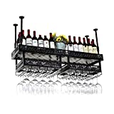 WLABCD Rack de Vino Inicio Titular Rojo Restaurante S, Rack de Copa de Vino Al Revés Inicio Bar Mesa Decoración Cubileta Rack Colgante Vino Rack,100 cm,Negro