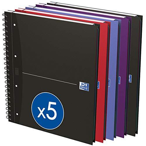 Oxford Essentials - Pack de 5 cuadernos doble espiral, tapa extradura, A4+