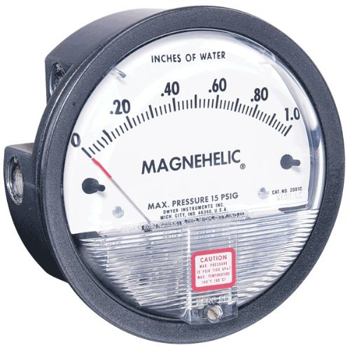 "Dwyer Magnehelic Series 2000 Differential Pressure Gauge, Range 0-8.0""WC & 0-2.0 kPa"
