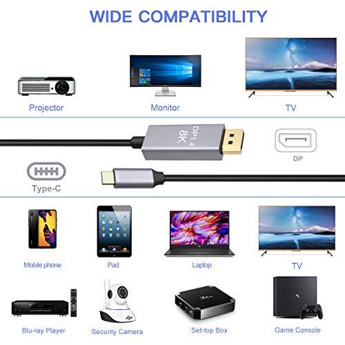CABLEDECONN USB-C to DisplayPort 8K Cable 7680x4320 8K@60Hz 4K@144Hz HDTV Adapter 2m for New MacBook 2019 2020 Dell XPS 2M