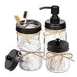 HOTOOLME Mason Jar Juego de accesorios de baño, incluye dispensador de jabón y soporte para Qtip, set y soporte para cepillo de dientes, decoración rústica rústica, organizador de baño