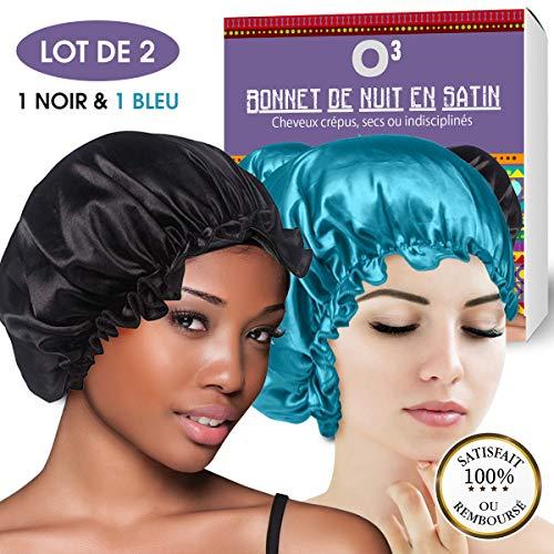 O³ Bonnet Satin Cheveux Nuit Afro | Lot de 2 Bonnets de Satin 1 noir et 1 gris | Large avec élastique | Bonnet Cheveux Nuit