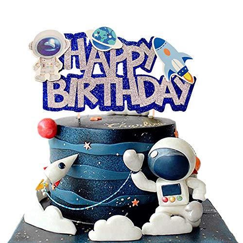 JeVenis Space Birthday Cake Topper Space Birthday Cake Decoration Space Cupcake Decoration Rocket Cake Decoration Astronaut Cake Decoration