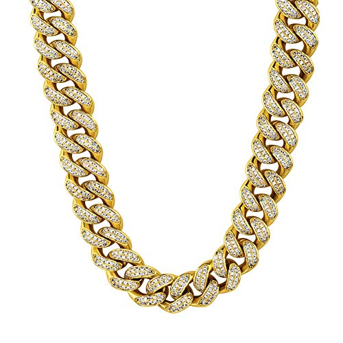 HUAMING Apzzic 12mm Miami Cuban Link Chain for Mens Heavy Polished Stainless Steel Curb Necklace Iced Out Link Chain with cz Diamond Chain Choker Gold 18inch
