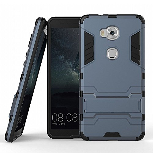 Hülle für Honor 5X / Huawei GR5 (5,5 Zoll) 2 in 1 Hybrid Dual Layer Shell Armor Schutzhülle mit Standfunktion Hülle (Blau Schwarz)
