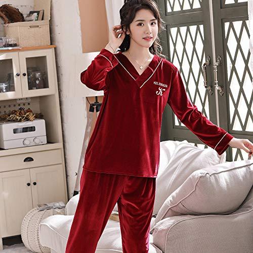 Conjunto De Pijamas Para Mujer,Conjunto De Pijama De Manga Larga De Terciopelo Dorado Para Mujer, Suave Y Acogedor, Rojo Vino, Cuello En V, Ropa De Dormir Cálida, Blusas Y Pantalones Sueltos, Conju