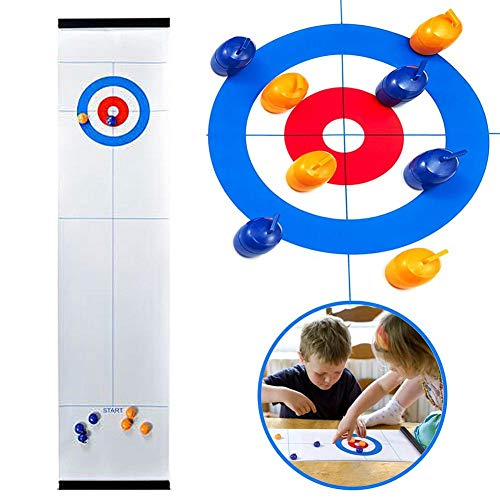Buy Funarrow Tabletop Curling Game, Portable Mini Foldable Tabletop Games Compact Curling Family Gam...