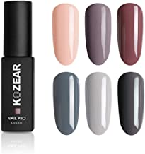 KOZEAR Gel Polish Set Nude Gray Soak Off UV LED Gel Nail Polish Kit Gift Box 6 Color