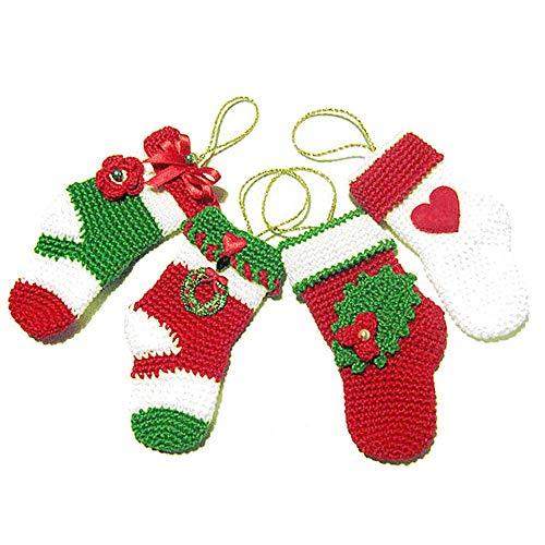Set 4 Häkeln Minisocken für Weihnachtsbaum in Baumwolle - Größe: 6 cm x 12 cm H - Handmade - ITALY