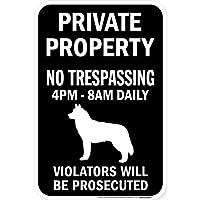 PRIVATE PROPERTY ブラックマグネットサイン:シベリアンハスキー シルエット 英語 私有地 無断立入禁止