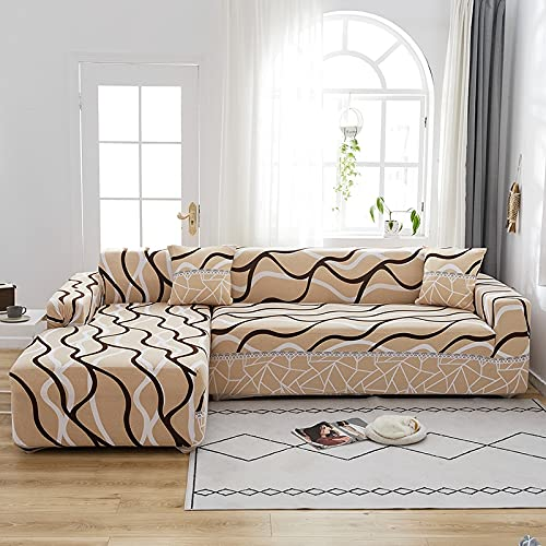ASCV Sofá elástico Chaise Cover Lounge para Sala de Estar Sofá de Esquina seccional Moderno Funda de sofá Funda de sofá Decoración de Silla A3 4 plazas