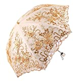 Honeystore Vintage Lace UV Sun Parasol Two Folding 3D Flower Embroidery Umbrella Yellow