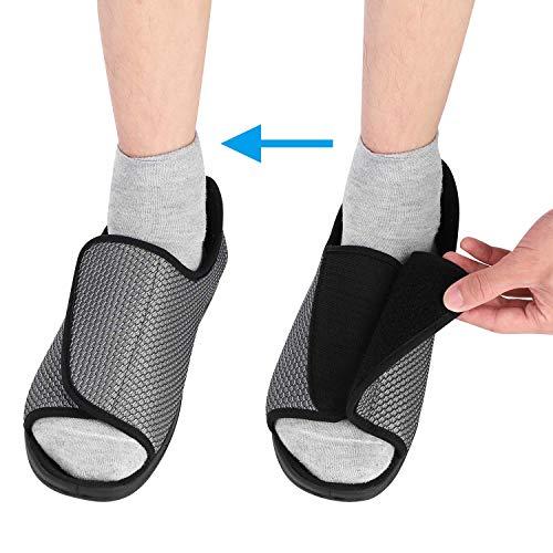 ITODA - Zapatos diabéticos para hombre, diseño ortopédico, puntera abierta, zapatos de interior y exterior, antideslizantes, cómodos para pies hinchados, gris, EU 41