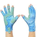 SAVIOR HEAT Fishing Gloves Ice - Sun Gloves Men Women Fingerless UPF50+ ,Grip Lightweight UV Protection Glovesfor Rowing,Kayaking,Photography,Cycling,Hiking