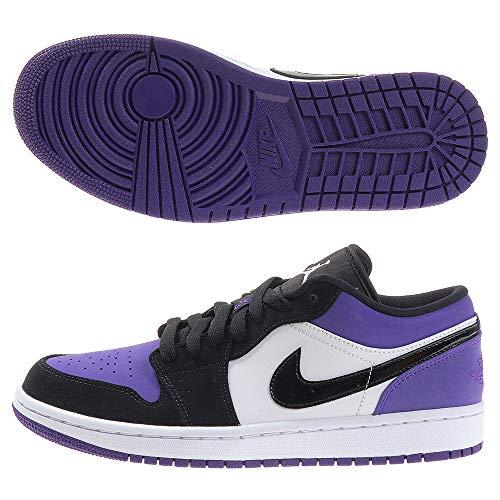 Jordan Zapatillas de baloncesto Air Retro 1 Low para hombre, negro (blanco / negro / púrpura (WHITE/BLACK-COURT PURPLE)), 44.5 EU