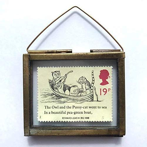 The Owl and the Pussy Cat Framed Vintage Postage Stamp Ornament