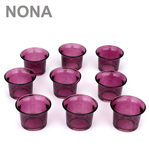 NoNa 4,5 cm Teelicht-Gläser - Neun im Set - LILA - Teelichtglas Kerzenglas Kerzengläser Teelichthalter