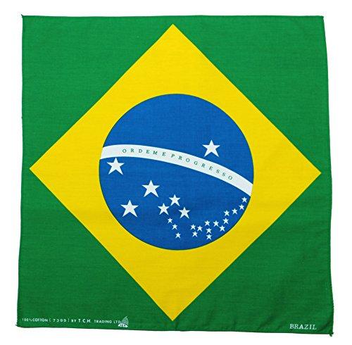 Tuch Brasilien Flagge Brazil Kopftuch Bandana Halstuch Nickituch ca. 51 x 51 cm Einseitig Bedruckt