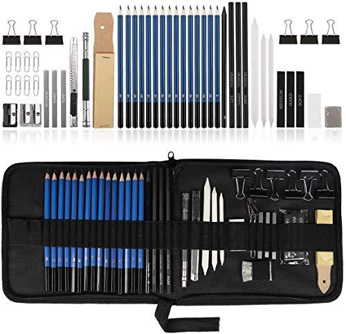 UlifeME Skizzierstifte Set Bleistifte, Zeichenstifte für Skizzieren und Zeichnen, Zeichnungen Stifte für Anfänger, Künstler und Profi Art mit Graphitkohlestifte Sticks Werkzeuge und Kit Bag - 50 Stück