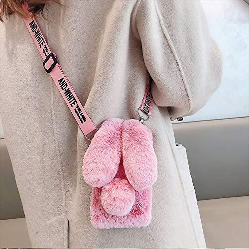 Schutzhülle für Kaninchenfell, flauschige Hasenohren – Samsung Galaxy Note 20 Ultra Frost Red Furry Fuzzy Handyhülle Damen Mädchen, weich, niedlich, Plüsch, Winter, warm mit Crossbody Strap