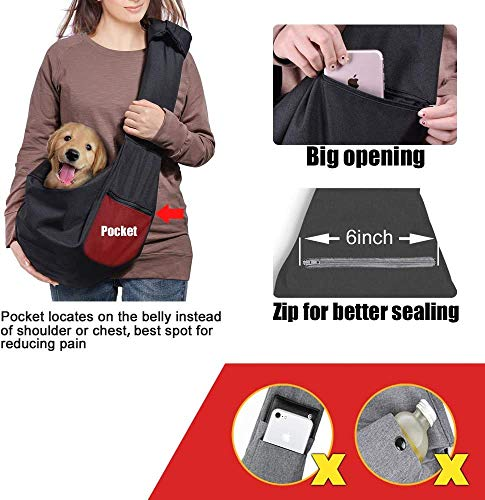 longsheng Dog Cat Sling Carrier, Adjustable Padded Shoulder Strap, with Zipper Pocket for Outdoor Travel 5