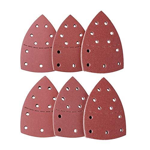 Juego de 60 almohadillas de lija triangulares para ratón, 11 hoyos, 10 unidades, cada uno de ellos surtidos 40/60/80/120/240/800 granos para lijadora de detalles de ratón