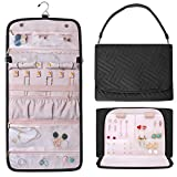 Refrze Hanging Jewelry Organizer Roll, Travel Jewelry Organizer, Foldable Jewelry Bag Case, Jewelry Storage Bag Organizer for Journey-Rings, Necklaces, Earrings, Compact and Easy to Carry Large Pink