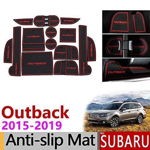 TAYDMEO Anti Slip Gate Slot Mat Gummiuntersetzer, für Subaru Outback 2015 2016 2017 2018 2019, Nicht silp Matten Zubehör Aufkleber Auto Styling l
