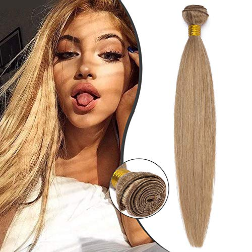 Extension Capelli Veri Tessitura Matassa Naturali Biondi Lisci Straight 40cm 100g Unprocessed Virgin Human Hair 1 bundle #27 Biondo Scuro