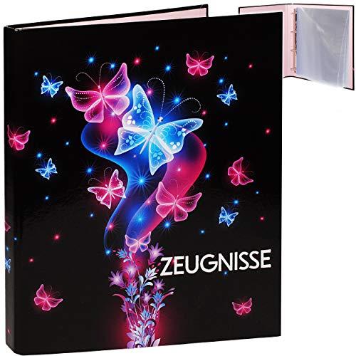 alles-meine.de GmbH Zeugnismappe / Ringbuch / Zeugnisringbuch - Zeugnisse _ Schmetterlinge & Blumen - Erweiterbar für Einsteckseiten + Einlagen - A 4 - Dokumentenmappe - A4 Ringo..