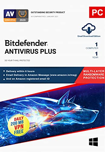 Bitdefender – 1 Computer,1 Year – Antivirus Plus   Windows   Latest Version   Email Delivery in 2 Hours- No CD  