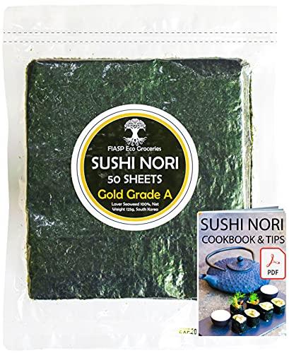 Fogli di alghe Nori Sushi - 50 fogli interi, 125 grammi - Cotto Al Settembre 2021, grado premium (oro)