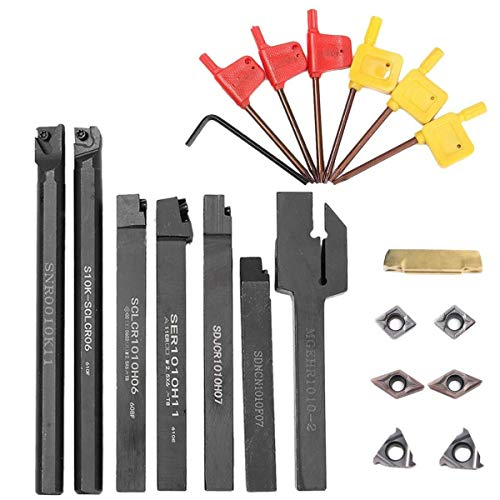 LKK-KK 21pcs / Set indexables Turning Conjunto de herramientas con mango de 10 mm Torno de inflexión Portaherramientas Boring Bar + dcmt CCMT Insert + Llave