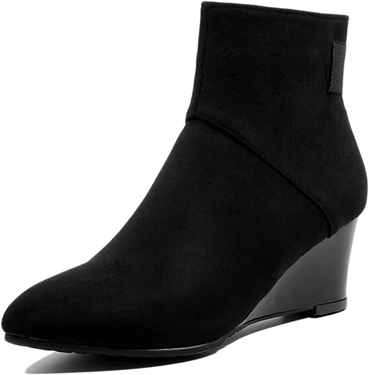 Unm Women's Comfort Faux Suede Inside Zip Up Pointy Toe Short Boots Stacked Mid Heel Wedge Ankle Booties