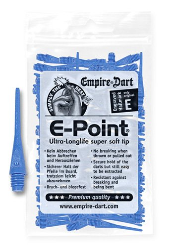Empire Dart Softdartspitzen, E-Point, 2BA, lang, blau, 100 Stück, 20679