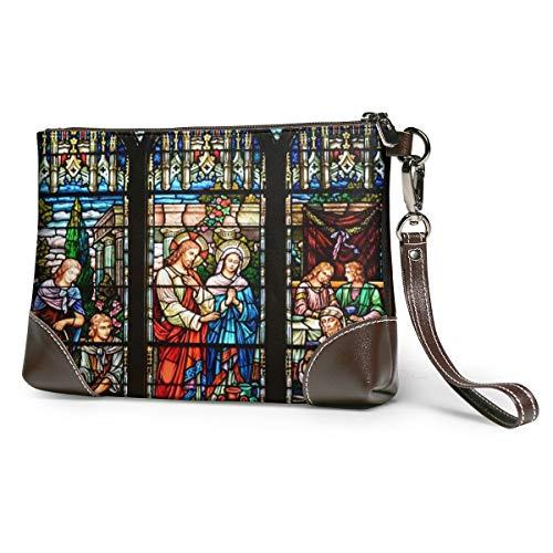 Echt lederen portemonnee voor vrouwen rits rond polsband lange portemonnee vintage reliëf rundleer koppeling Saint kerk gekleurd glas raam St Pauls staat