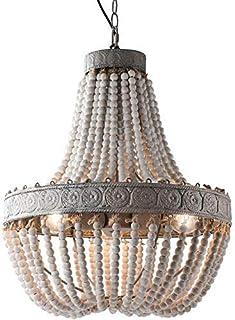 Lámpara de araña con cuentas de madera Colgante Tres luces Gris Acabado blanco Retro Vintage Antigua Cocina rústica Lámpara de techo Accesorios de iluminación Lámpara de araña minimalista moderna