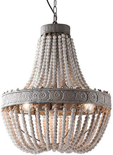 Lámpara de araña con cuentas de madera Colgante Tres luces Gris Acabado...